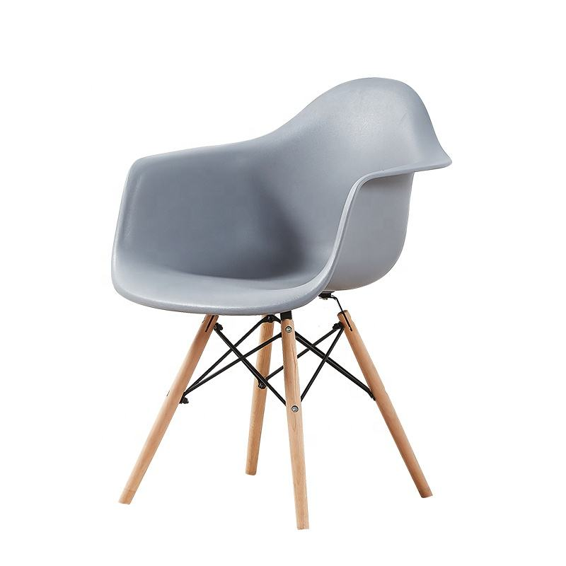 Hot sale modern design grey plastic seat solid wood chair for cafe restaurant