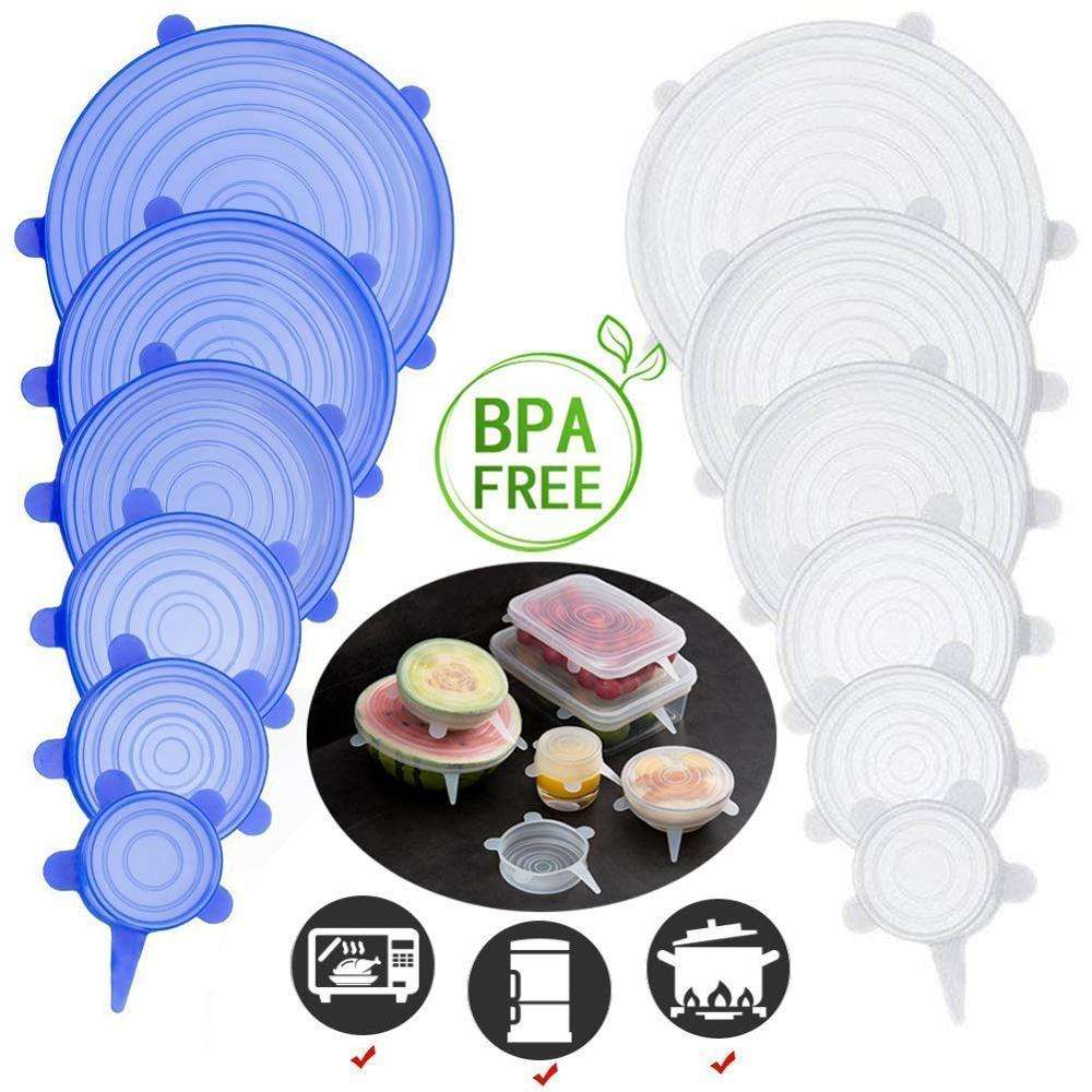 6-Pack Reusable Suction Merenggang Segel Silikon Stretch Lids