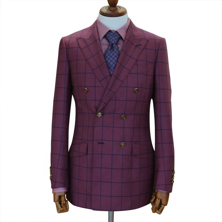 red plaid check fancy lapel mens wedding suits double breasted tuxedo suits