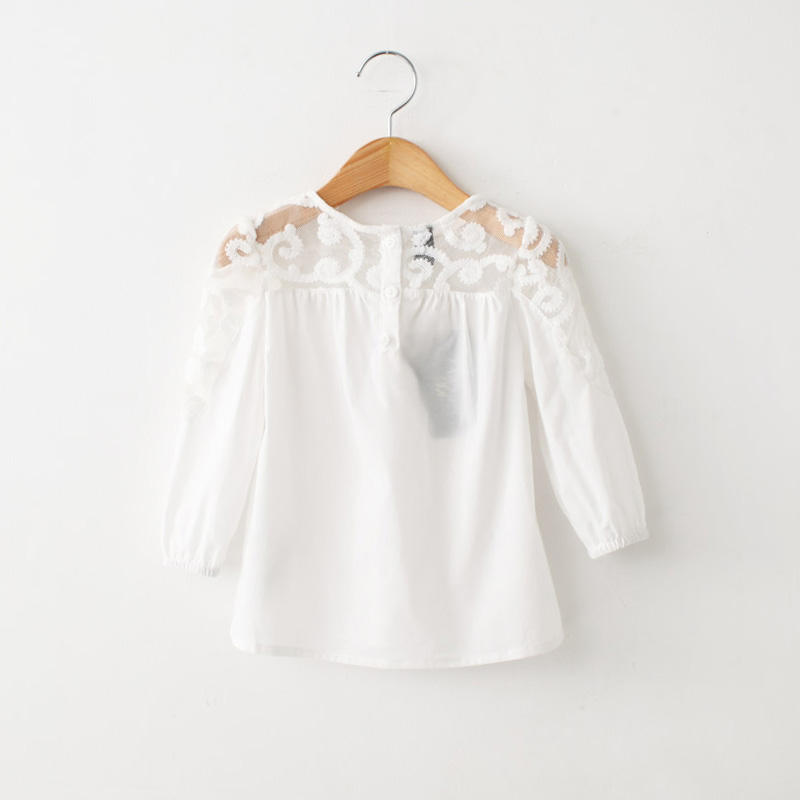2018 Spring New Arrival Fashion Brand Children Clothing Kids White Shirts Baby Tops Girls Lace Patchwork Shirt