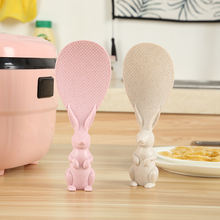 Wheat Straw Plastic Rabbit Rice Spoon Stand Rice Serving Spoon