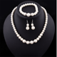 Classic Wedding Bride Jewelry Pearl Costume Necklace earrings Bracelet Jewelry Sets