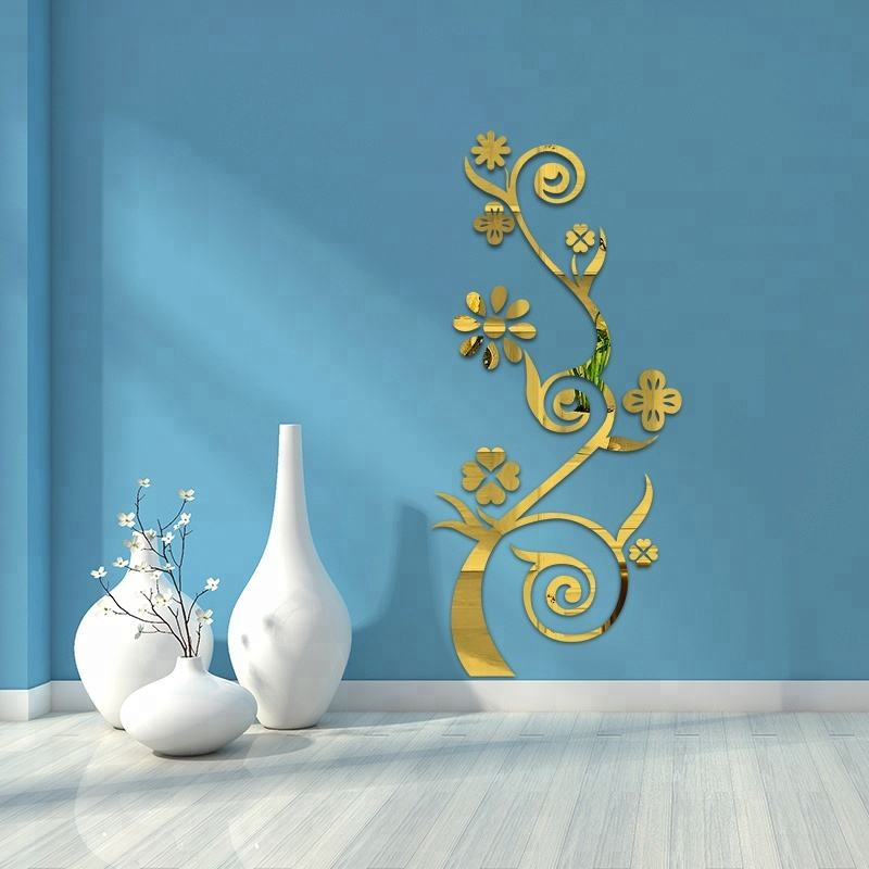 3D Mirror Wall Stickers Living Room Entrance Bedroom TV Wall Decals Marriage Room Decorated Luxury Vase Plum Flowers