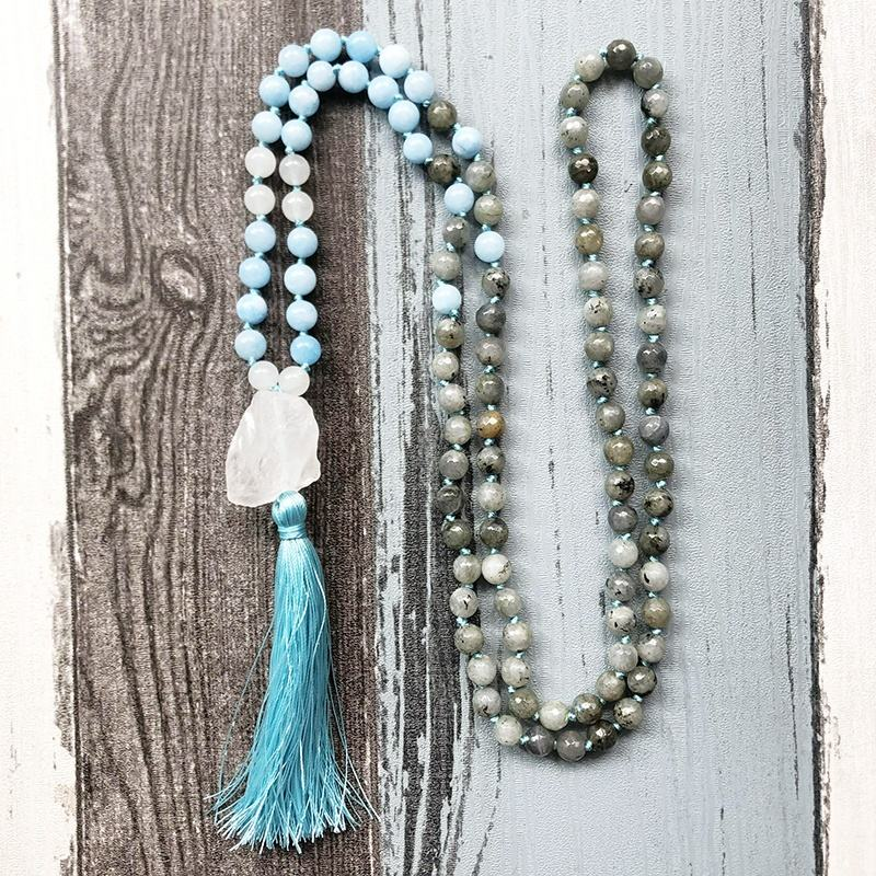 ST0551 108 Mala Beads Knotted Mala Necklace With Tassel Labradorite Yoga Jewelry Stress Relief Necklace With Raw Quartz Pendant