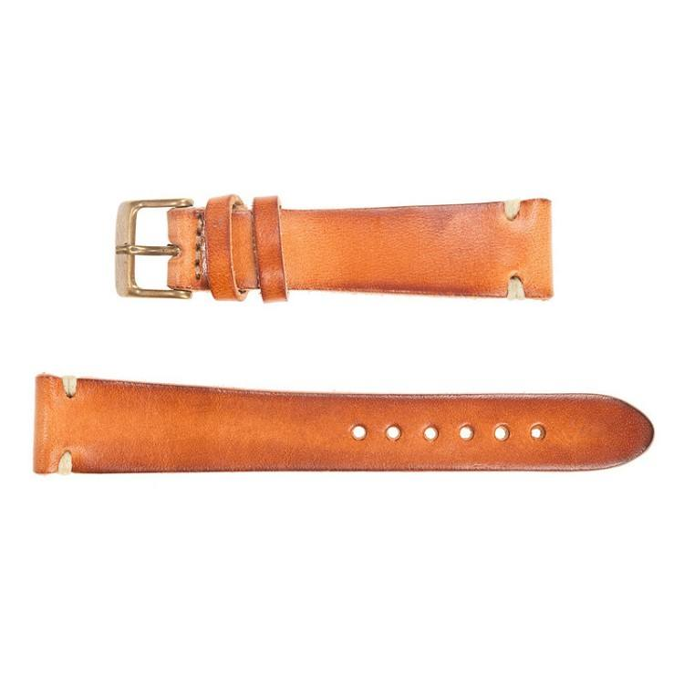 Top grain 18mm 20mm 22mm watch strap customized LOGO premium veggie tan genuine buffalo leather watch straps bands factory