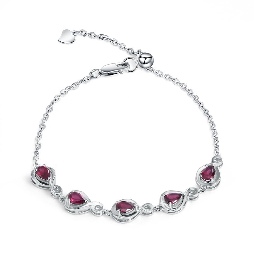 Abiding natural rhodolite garnet stone luxury fashionable custom 925 sterling silver bracelet jewelry