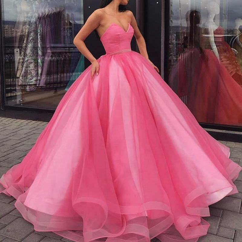 Roze Tulle <span class=keywords><strong>Fashion</strong></span> Baljurk Dubai Lange <span class=keywords><strong>Prom</strong></span> Jurk Voor Vrouwen