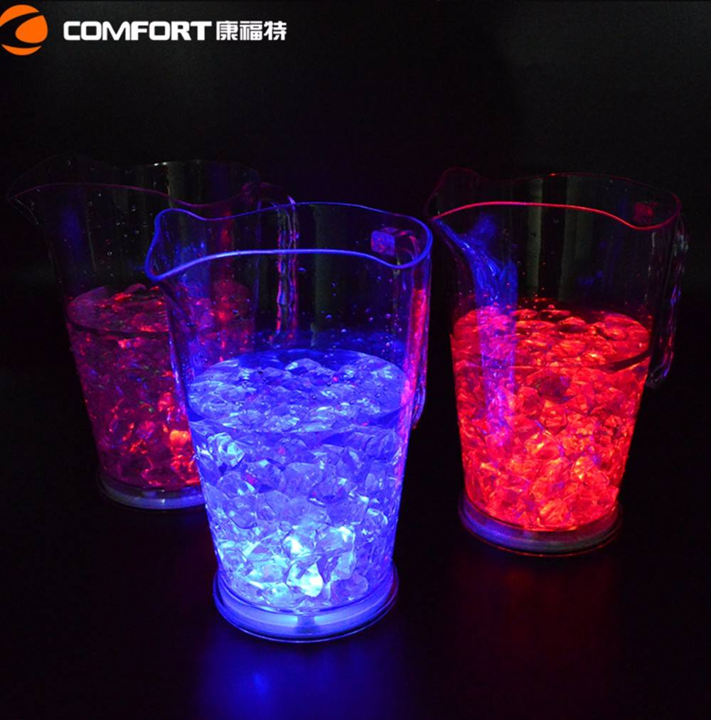 cool borosilicate glass jug led lighted plastic beer pitcher