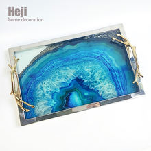 Modern Large Rectangle Metal Agate Pastry Gift Display Deep Serving Tray