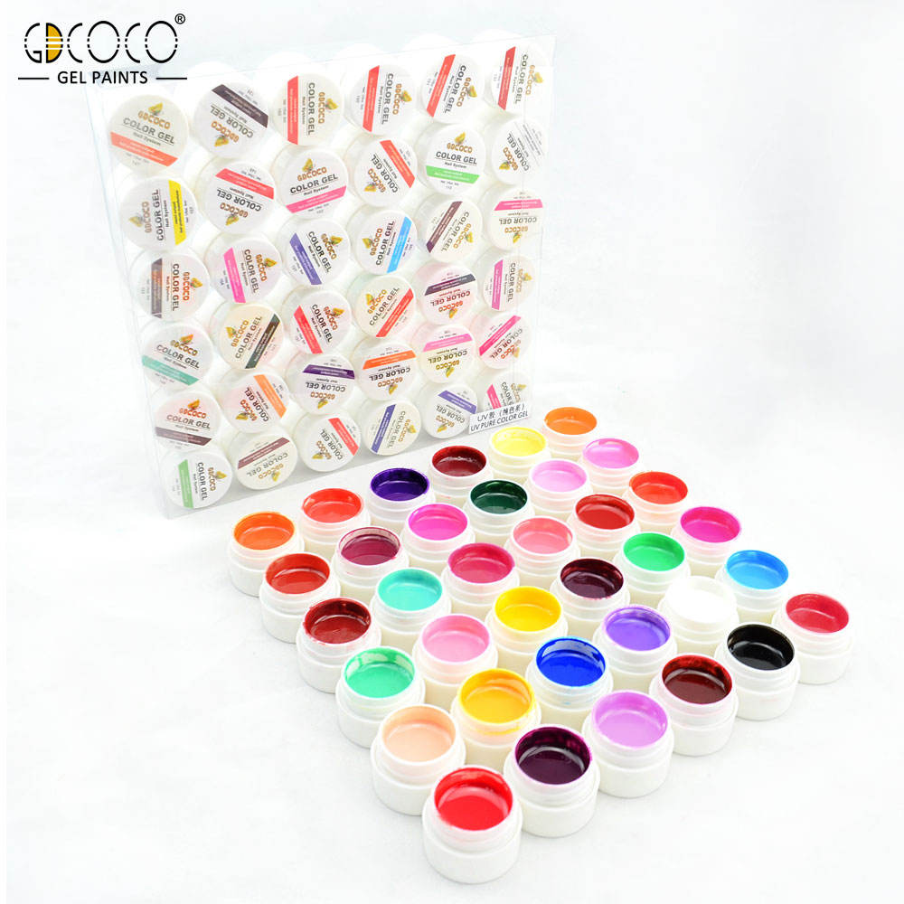 20204a GDCOCO 36 Colors 5ml nail UV Gel Kit soak off led Nail Art Pure Color Gel paint color uv gel polish no label