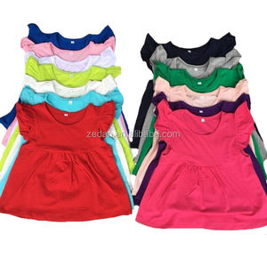 Western summer kids clothes baby girls flutter shirts plain blank girls tops