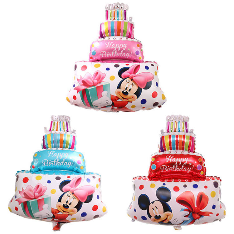 Cake shape foil balloon print mickey minnie birthday party balloons