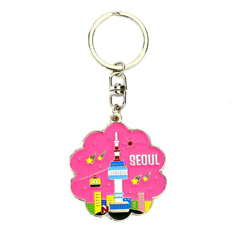 Custom Enamel Seoul Tower Metal Keychain For Gifts