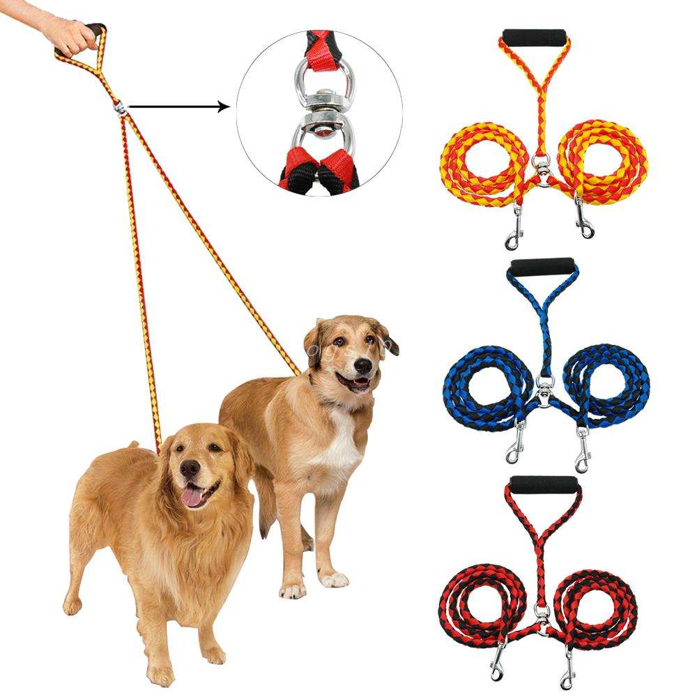 Double Dog Leash for Two Dogs 120cm Braided Tangle Free Dual Leash Coupler For Walking and Training Two Dogs