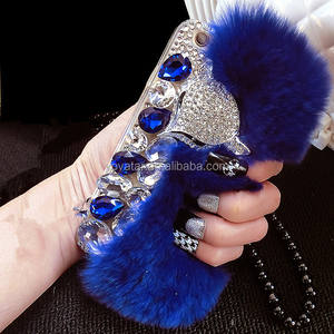 For iPhone 5 Rabbit Fur Leather Mobile Phone case,For iPhone 6 /6Plus Diamond case