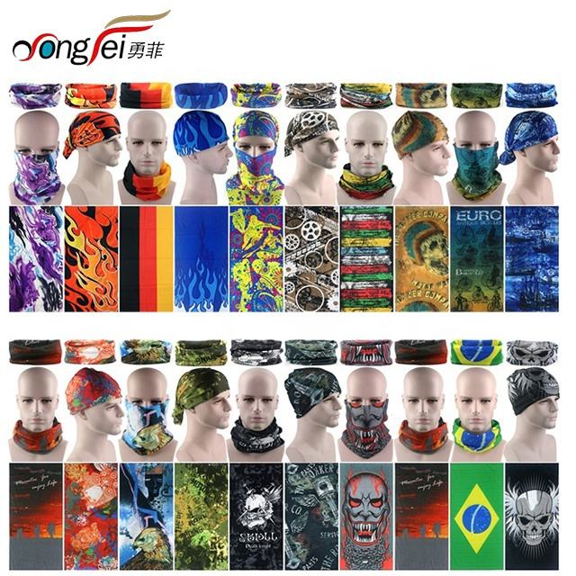 2020 Custom Design Logo Multi Colors Face Protective Headwear Neck Gaiter Bandanas Polyester Promotional Neck Tube Bandana