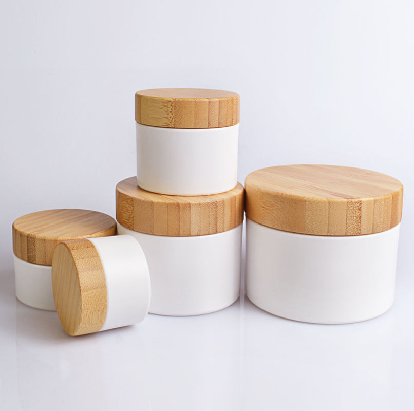 Hot 15g 30g 50g 100g 150g 200g 250g white plastic hard pet cosmetic cream jar with bamboo lid container bottle