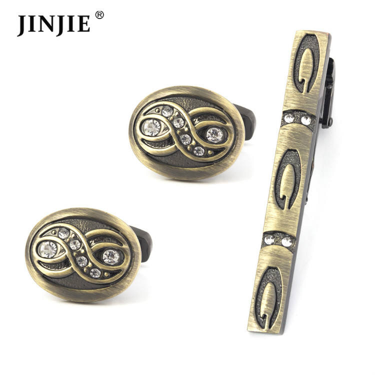 Antique bronze engraved cufflinks and tie clip set crystal rhinestone cufflink buttons for shirt