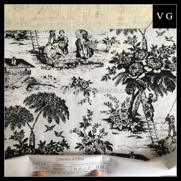 Tela de lino para sofá pequeña flor impresa tela de algodón de lino para el hogar