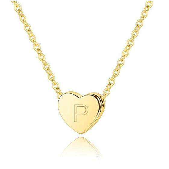 P Heart Initial Necklace 14K Gold Filled Letter Necklace Pendant Necklace Gifts for Women Girls