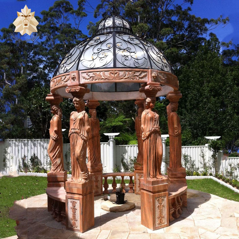 Round style outdoor stone lady statue carving sunset red marble gazebo NTMG-033Y