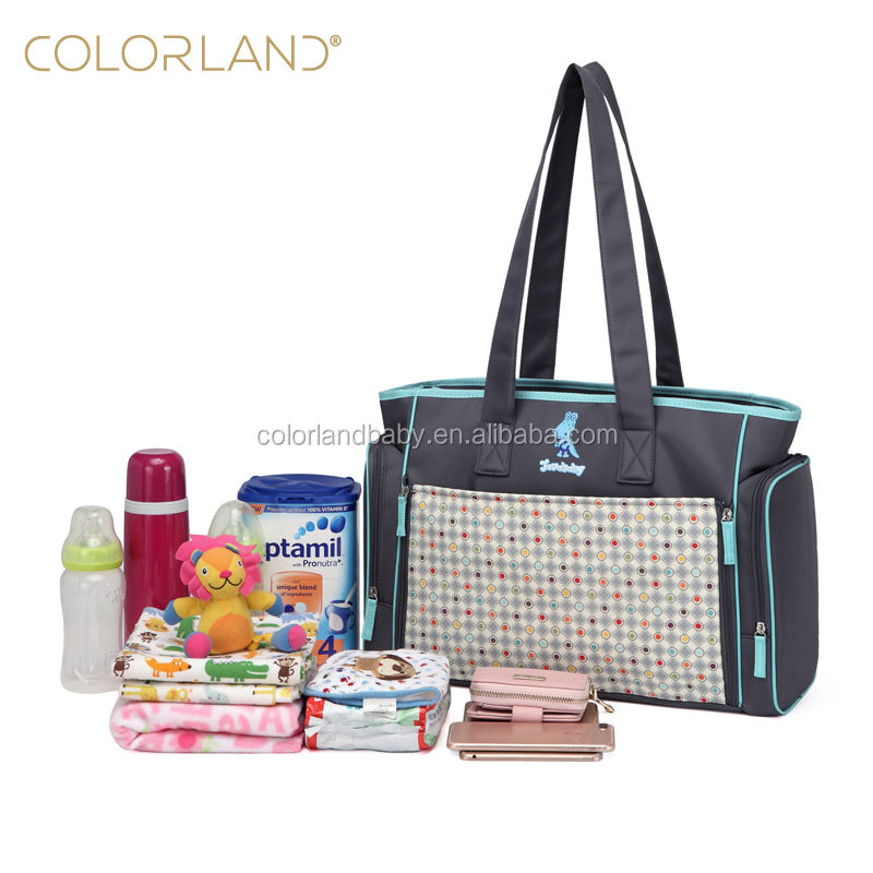 New Design Mummy Tote Diaper Bag Baby Nappy Bag with Changing pad & wipe case