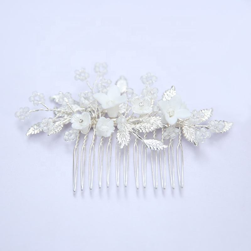 Wholesale Handmade Hair Accessories Vine Pin Flower Crystal Silver Leaf Wedding Headdress Bridal Hair Comb For Women