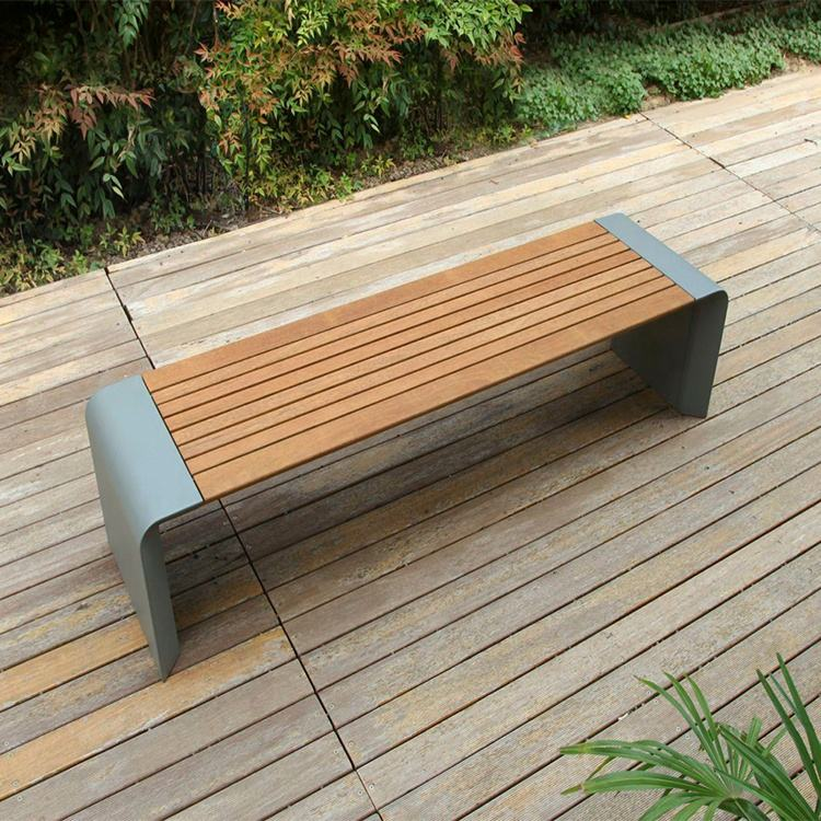 Metalen Leisure Backless Street <span class=keywords><strong>Houten</strong></span> Bankje Outdoor Openbare Moderne Wachten Patio Park Bench