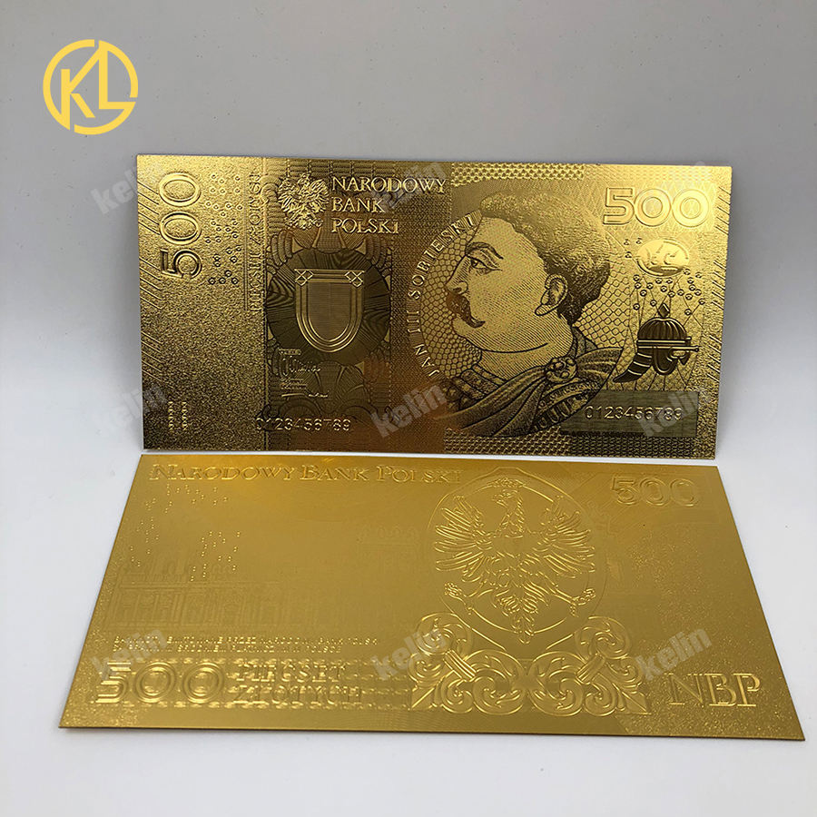2017 New Poland money designed 24K gold Banknote 500 PLN for Bank souvenir gifts
