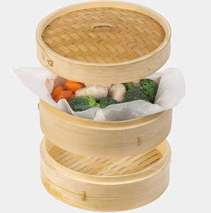 Eco friendly bamboo steamer 10 inch 3 piece steamer
