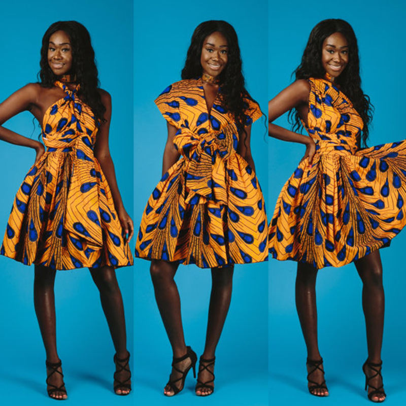 NADANBAO Marque V-cou style multiple en robe à la mode africaine kitenge robe conception sexy parti femmes robe de style africain