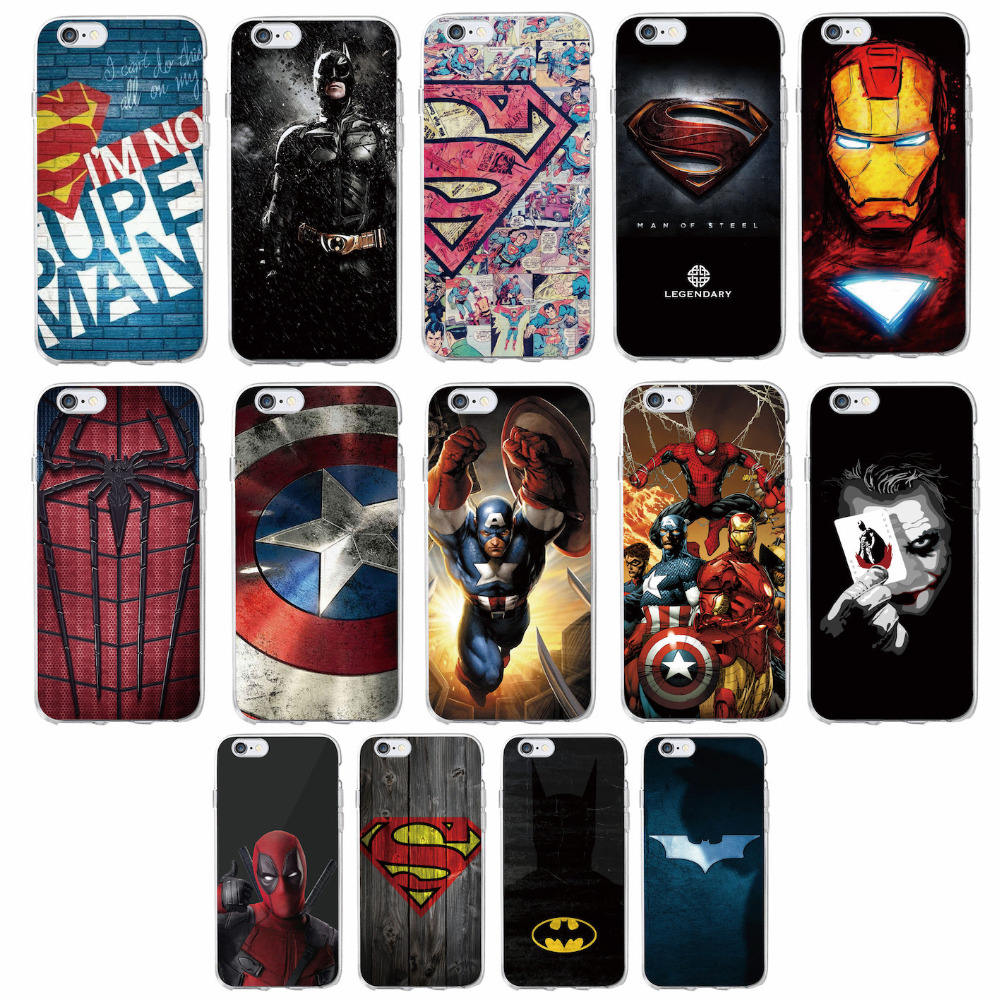 Coque souple Superman Batman Iron Man Captain America Marvel Comics Avenger coque souple de téléphone pour iPhone 11 Pro Max 7 7plus 6S 6plus