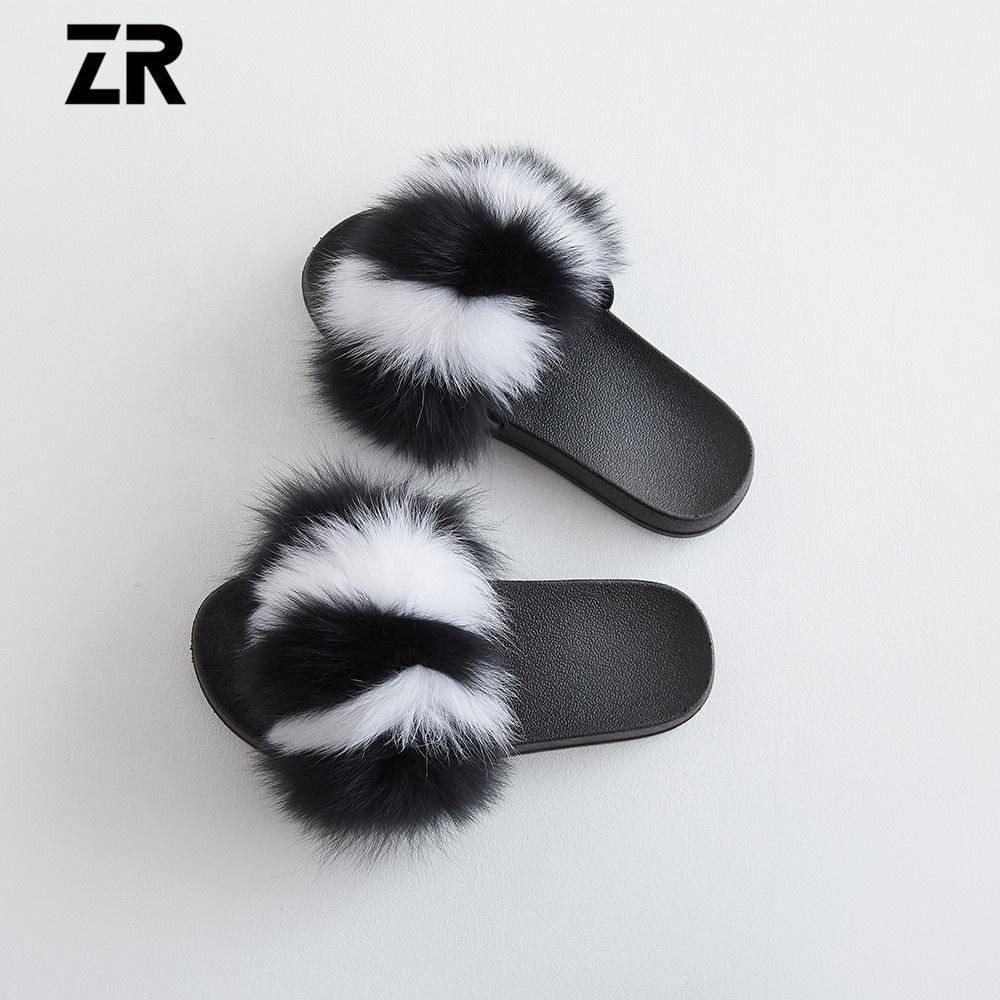 Fox Fur Soft Sandals Women Slippers Real Fur Slides