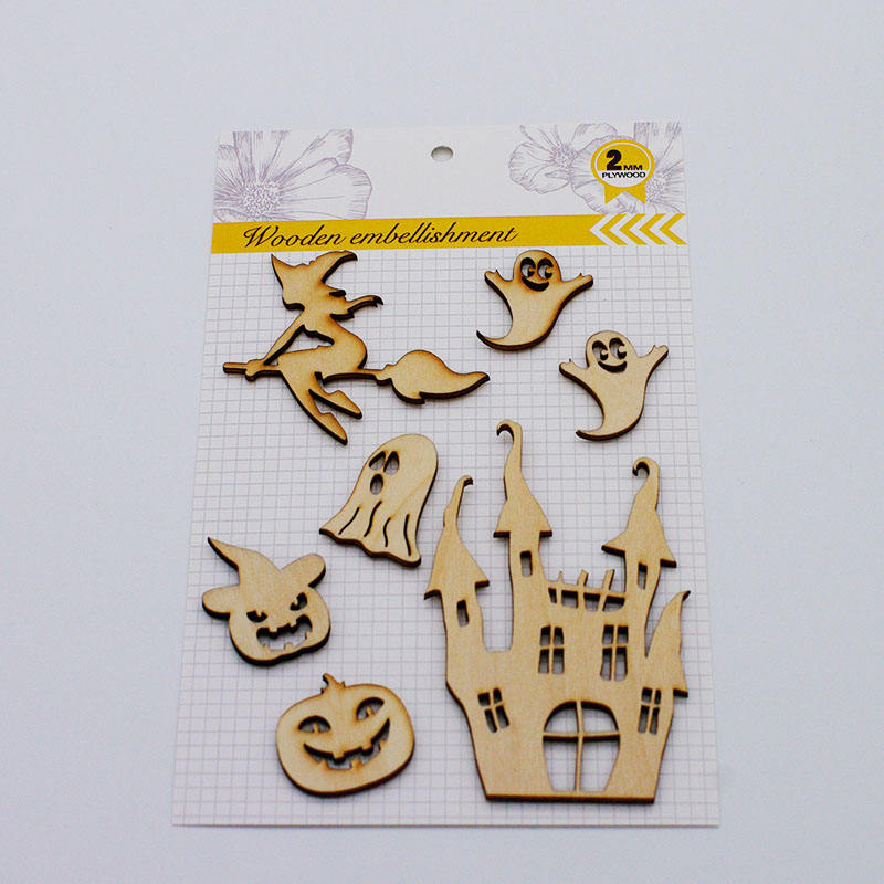 Wholesale Halloween decoration Wood Dies Cuts Embellishments Laser Cut For Scrapbooking Cardmaking