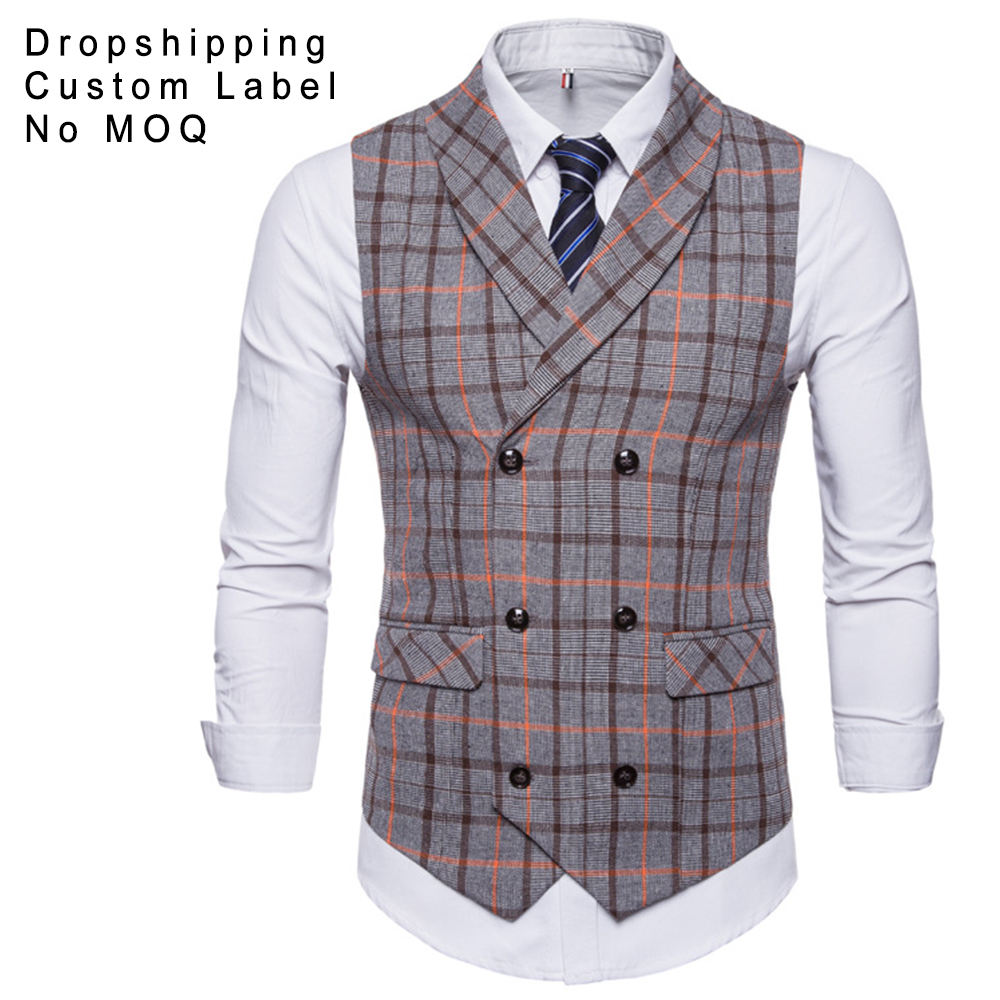 Amazon Fancy Double-Breasted Tweed Men Plaids Waistcoat Vest