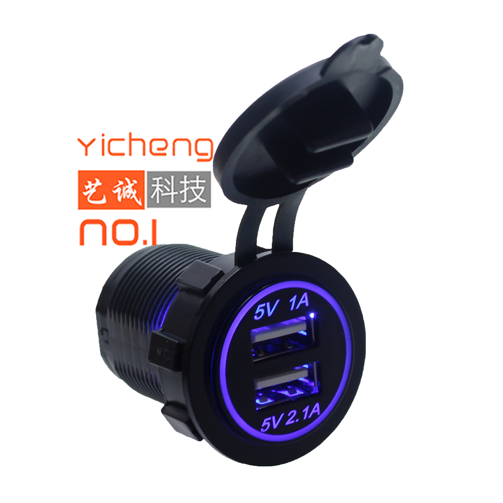 2.1A 3.1A LED แหวน 2 พอร์ต 12V Dual USB Car Charger