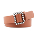Women Fashion Slim Decoration PU Belt With Pearl Buckle