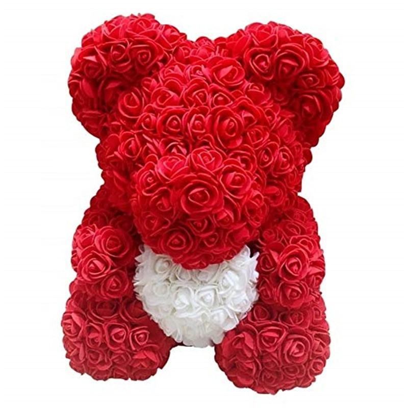 Artificial Heart preserved Rose Teddy Bear for Anniversary Christmas Valentines Gift