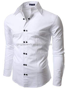 pure white simple good quality custom men shirt with hidden pockets