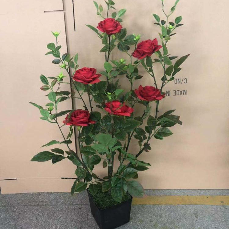 Artificial potted rose flower artificial tree red rose