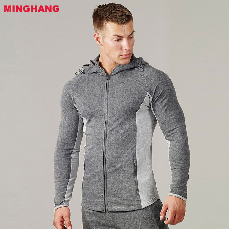 Fashion Mens Gym Compression Tops Slim Fit Hoodie