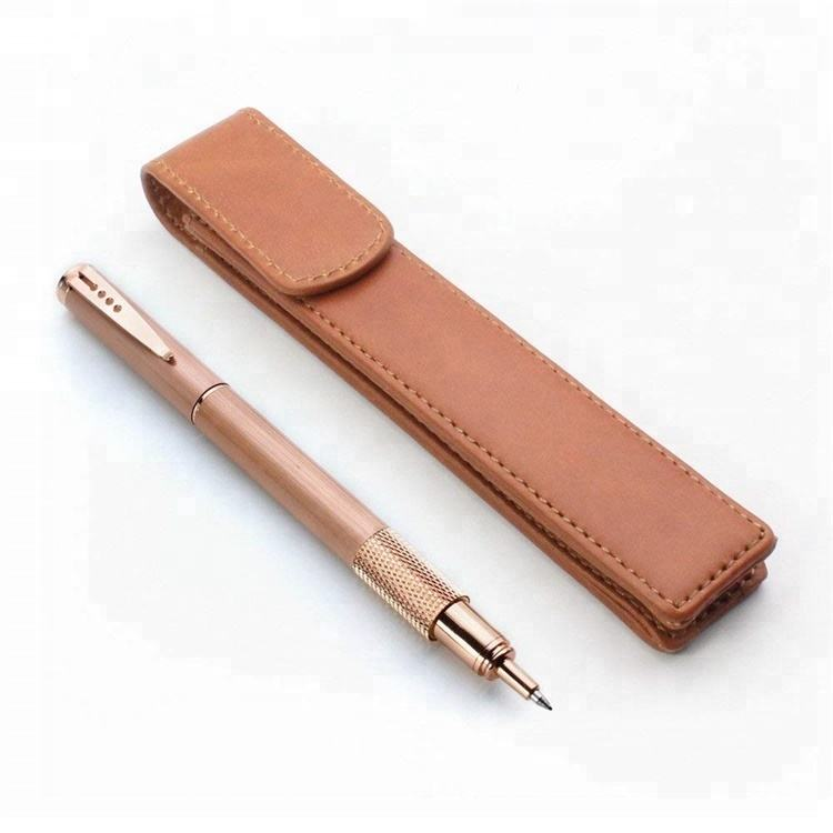 Tan Brown Genuine Leather Pen Case Holder
