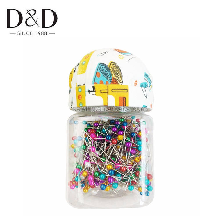 D&D New Sewing Pin Cushion Bottle with 500pcs Pearl Head Pins