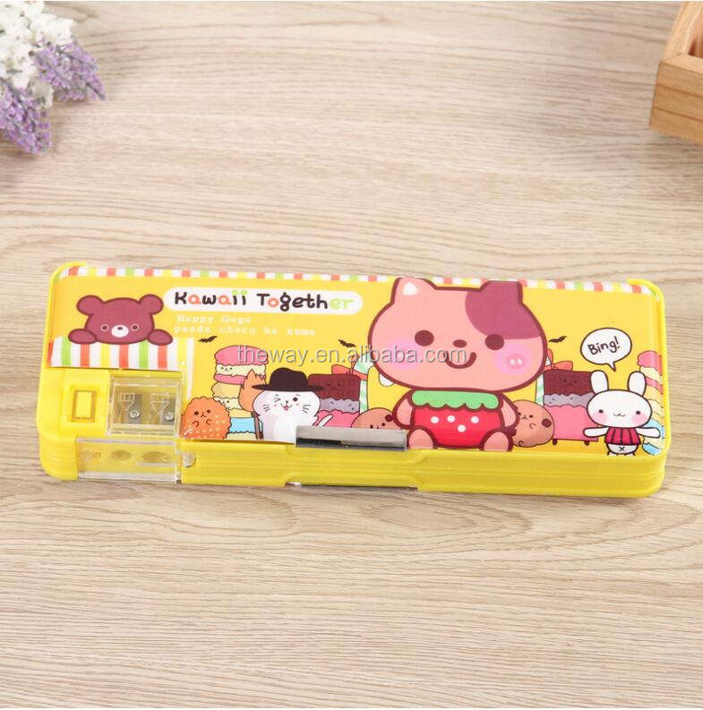 School kids Multifunction Cartoon pencil box plastic pen box with eraser pencil sharpener and ruler