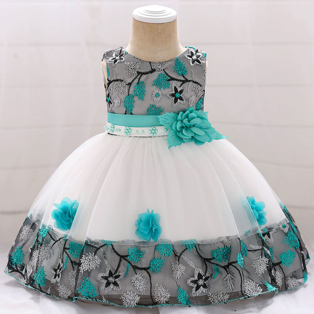 0-2 Year Old Frocks Designs Kids Flower Princess Fancy Fluffy Baby Girls Party Dresses L5045XZ