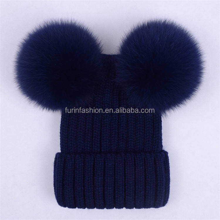 Warm cute toddler hats knitted beanie hats with top double ball Real Raccoon fur pom pom beanie custom cap