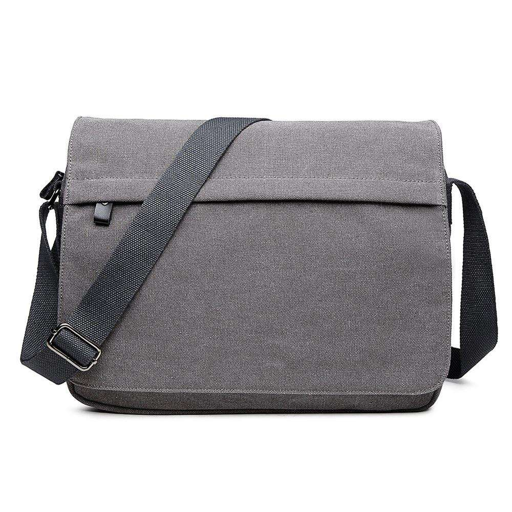 Men's Canvas 14 inch Laptop Messenger Handbag Outdoor Sports Over Shoulder Crossbody Side Bag