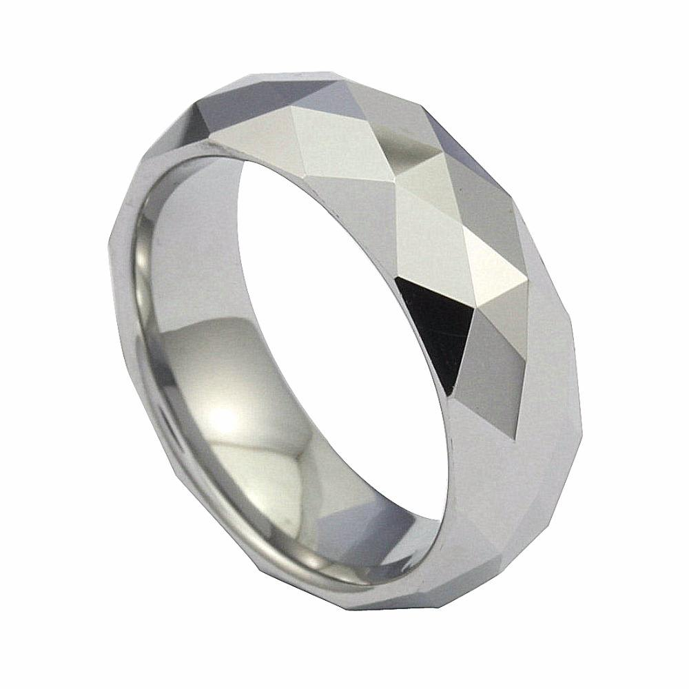 High Polished Men's Multi-faceted Tungsten Carbide Steel Wedding Band Ring Size 3.5 to 16