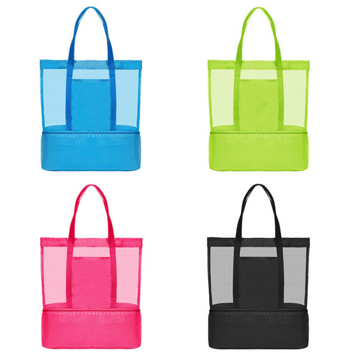 New Style Double Layer Mesh Beach Bag with Cooler Bag at bottom
