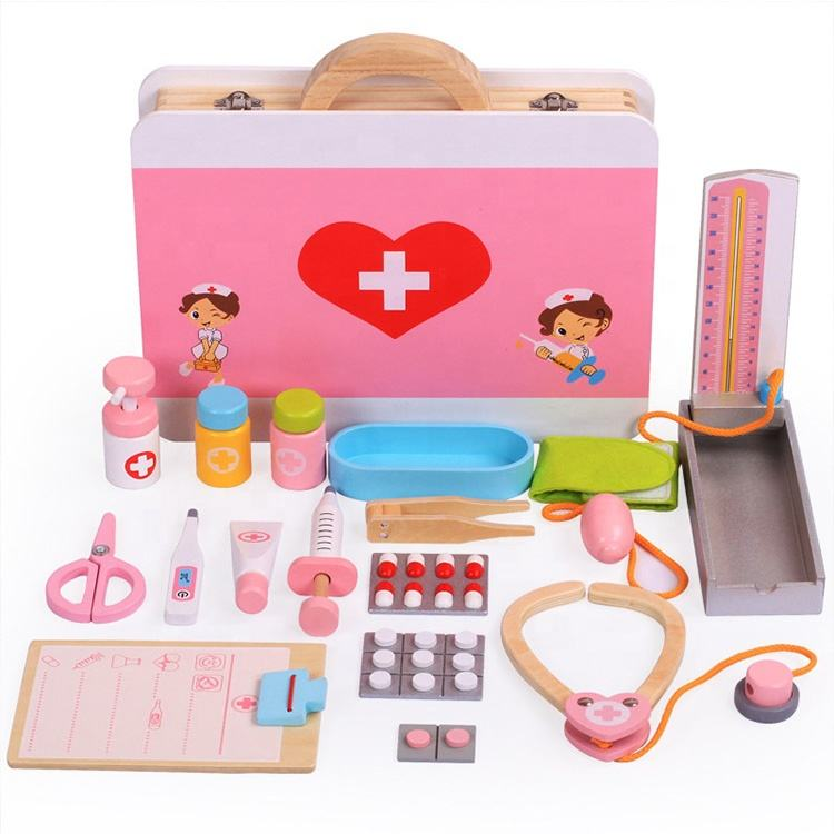 pretend play wooden doctors case toy for kids pretend play doctor set